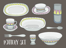 Pottery icon set Royalty Free Stock Photos