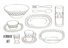 Pottery icon set Royalty Free Stock Images