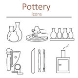 Pottery icons. Tools and pottery. The ancient craft. Vector illustration Royalty Free Stock Photos