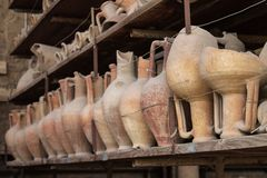Pottery issued from excavations of Pompeii, Italy.  Royalty Free Stock Photos