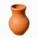 Pottery jar of bright brown color Stock Photos