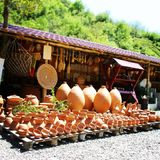 Pottery. Journey. Trip to Georgia. Pottery for sale on road. Journey. Trip to Georgia.  Travel in Kharagauli district. Summer 2015 Stock Photos