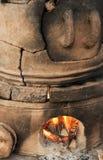 Pottery kiln. Old pottery kiln and fire Stock Image