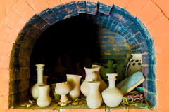 Pottery in a kiln Royalty Free Stock Images