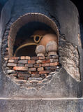 Pottery kiln in the pottery workshop, Puebla, Mexico Stock Images