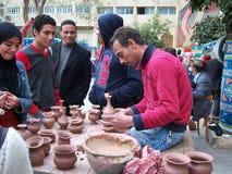 Pottery maker at festival  Stock Photo