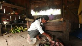 Pottery Making. Adult Woman Making Pottery, Rural Scene In Ecuadorian Amazonia, Color Preparation stock footage