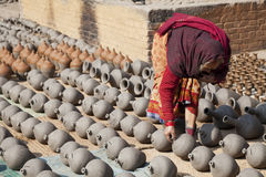 Pottery Making, Bhaktapur, Nepal Stock Photos