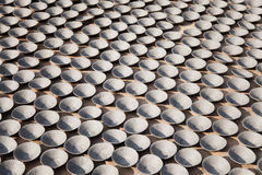 Pottery Making, Bhaktapur, Nepal. Image of saucers being sun dried at a small scale traditional pottery making industry in Bhaktapur, Nepal Stock Photography