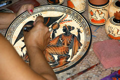 Pottery by making copies of ancient Greek vases Stock Images