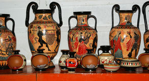 Pottery by making copies of ancient Greek vases Stock Image