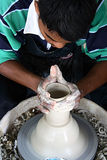 Pottery man. Making pottery vase Stock Image