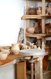 Pottery manufactory and potter`s wheel Royalty Free Stock Images