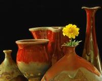 Pottery & Marigold Stock Photo