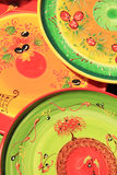 Pottery at a market. Colorful pottery with traditional Provencal patterns at a market in the Provence, France Stock Photos