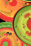 Pottery at a market. Colorful pottery with traditional Provencal patterns at a market in the Provence, France Stock Image