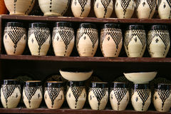 Pottery in Marrakech. Decorative traditional pottery for sale in Marrakech, Morocco Royalty Free Stock Photo