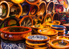 Pottery in a Mexican market. Stock Image