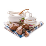 Pottery  with milk and Cookies Royalty Free Stock Photos