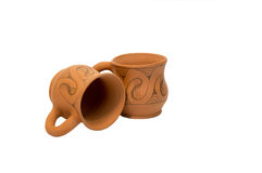 Pottery for milk and water Stock Photo