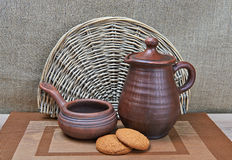 Pottery And Oatmeal Cookies Still Life Stock Photo
