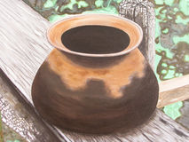 Pottery On Canvas Painting. Royalty Free Stock Photos