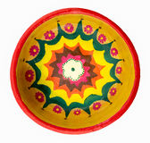 Pottery painted colorful handcrafted plate Royalty Free Stock Photography