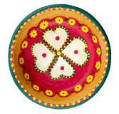 Pottery painted colorful handcrafted plate Royalty Free Stock Photos