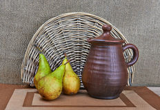 Pottery And Pears Still Life Stock Photo