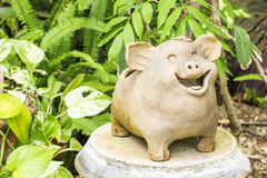 Pottery pig laughing Royalty Free Stock Photo