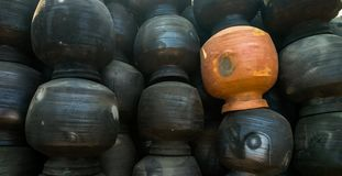 Pottery plant with lot of pots royalty free stock image