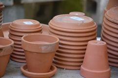 Pottery planters and liners from a garden store Royalty Free Stock Photo