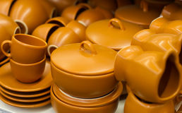 Pottery pots with clay Royalty Free Stock Photography