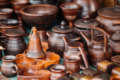 Pottery. pots, dishes, and other articles made of earthenware or Stock Photography