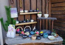 Pottery pots for sale on street in Kamakura, Japan Stock Photo