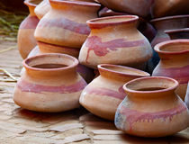 Pottery products at  a market. In Bhaktapur, Nepal Stock Photos