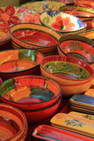 Pottery in the Provence. Pottery with traditional Provencal patterns at a market Royalty Free Stock Photography