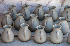 Pottery. Ready for the oven in Margaritas, Crete island Royalty Free Stock Photos