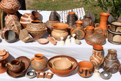 Pottery. Romanian traditional pottery for sale Stock Photo
