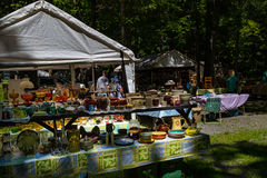 Pottery for sale at Shupps Grove. Reamstown, PA - August 7, 2016: Antiques and other collectables offered for sale weekly by dealers at Shupp's Grove Royalty Free Stock Photo