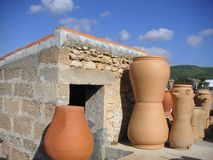 Pottery scene. Spanish garden with red terra-cotta pottery Stock Photos