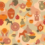 Seamless pottery pattern with vases and others ceramic. Clay horse, women, and other dishes. Pottery seamless pattern with the hands of an artisan, a ceramic vector illustration