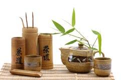 pottery service tea royaltyfri bild