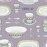 Pottery set pattern Royalty Free Stock Photos
