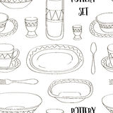 Pottery set pattern Royalty Free Stock Image