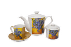 Pottery set  for tea over white background Stock Photo