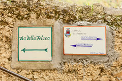 Pottery signpost in the village of positano Stock Photography