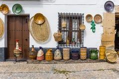 Pottery at a souvenir shop in Ubeda. Pottery and baskets at a souvenir shop in Ubeda, Spain Royalty Free Stock Photos