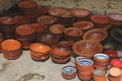 Ceramic pottery souvenirs at the market of Inca, Mallorca, Spain Stock Photos