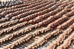 Pottery Square in Bhaktapur, Nepal. Many earthen pots kept for drying in the sun at famous Pottery Square in Bhaktapur, Nepal stock photos